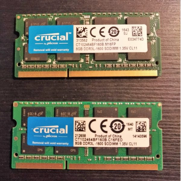 crucial 16gb 2x8gb 1600mhz ddr3 sodimm ram  135v for laptop 1531763955 466b5b350 600x600 - رم استوک لپ تاپی 8 گیگ 8GB DDR3 PC3