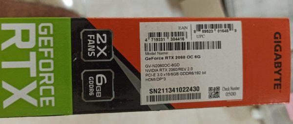 کارت گرافیک 6گیگ گیگابایت Gigabyte RTX 2060 6GB OC Edition آکبند